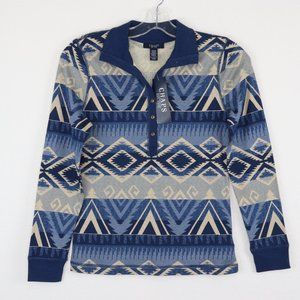 CHAPS NWT Blue Southwestern Long Sleeved Pullover